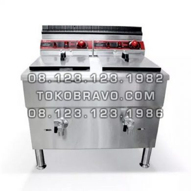 Gas Deep Fryer Double Tank 17Lx2 FRY-G172 Fomac