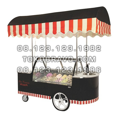 Gelato Showcase Fan Cooling Auto Defrost and Cart IC-CART-12 Gea