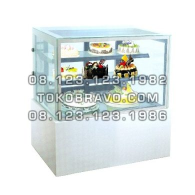 Rectangular Cake Showcase White Marble Panel 2 Shelves MM730V Gea