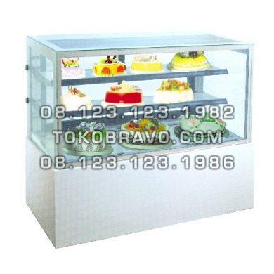 Rectangular Cake Showcase White Marble Panel 2 Shelves MM740V Gea