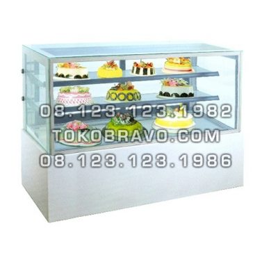 Rectangular Cake Showcase White Marble Panel 2 Shelves MM750V Gea