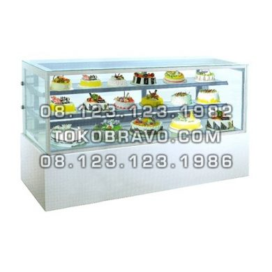 Rectangular Cake Showcase White Marble Panel 2 Shelves MM780V Gea