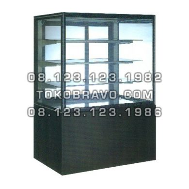 Rectangular Cake Showcase Black Marble Panel 3 Shelves SR-730V Gea