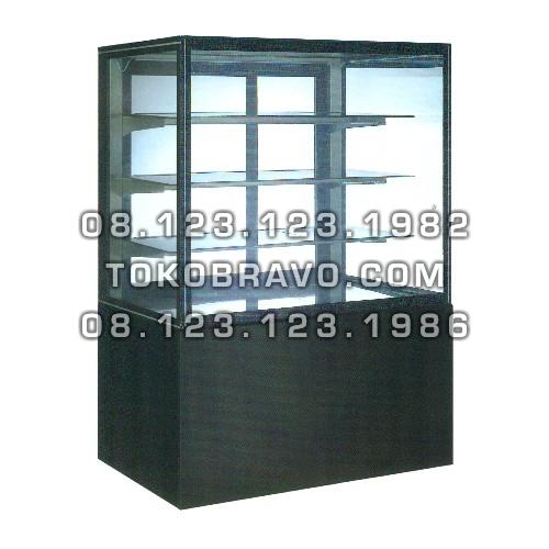 Rectangular Cake Showcase Black Marble Panel 3 Shelves SR-730V Gea