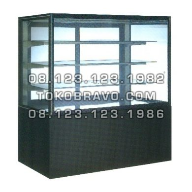 Rectangular Cake Showcase Black Marble Panel 3 Shelves SR-740V Gea
