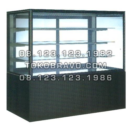 Rectangular Cake Showcase Black Marble Panel 3 Shelves SR-750V Gea