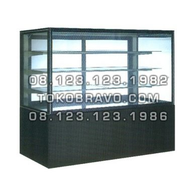 Rectangular Cake Showcase Black Marble Panel 3 Shelves SR-760V Gea