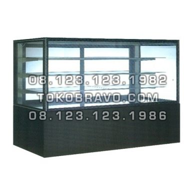 Rectangular Cake Showcase Black Marble Panel 3 Shelves SR-780V Gea